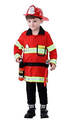 Pretty Princess Kinder kostüm Junge Feuerwehrmann Rot Einsatzjacke Zubehör Feuerwehr cosplay Spielzeug Karneval Kleidung 7-8 jahre