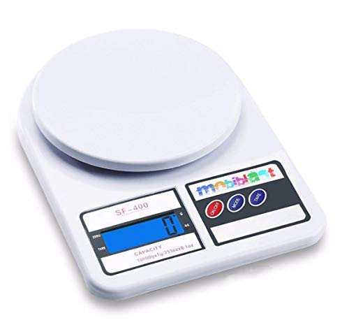 MobiBlast Electronic Kitchen Digital Weighing Scale Measure for Measuring Fruits,Spice,Food,Vegetable and More (10 Kg) - White