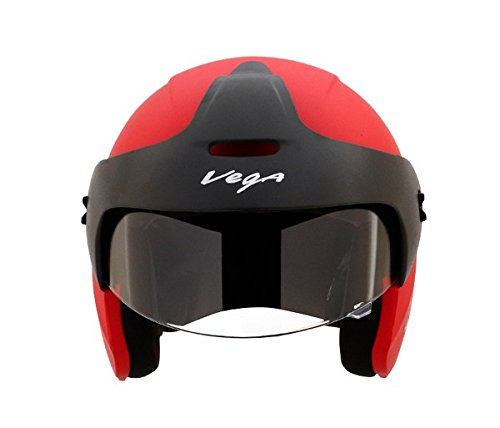 Vega Budds Half Face Helmet (Dull Red, L)
