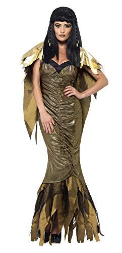 Cleopatra Schuhe Kostüm - Smiffys, Damen Dunkle Cleopatra Kostüm, Kleid mit Umhang, Größe: L, 40095