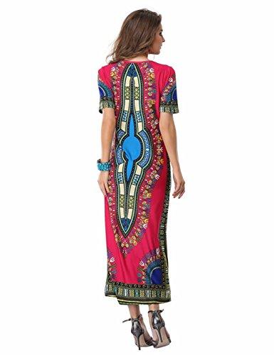 QIYUNZ Traditionellen Stil Gedruckt Frauen Chinas Kurzhuelse Duennes Kleid  Partei Langes Kleid Farbe blau