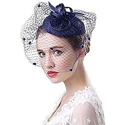 Sombrero de boda Bibis Mujer Peinado Novia Fascinator Elegante Novia Horquilla Velo de novia Prendas de punto Cóctel Derby Iglesias Ceremonia Fotógrafo Fiesta Fiesta Disfraces (Azul marino)
