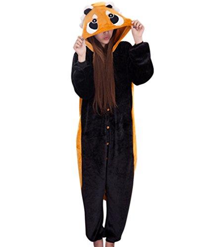 MissFox Jumpsuit Tier Cartoon Fasching Halloween Kostüm Sleepsuit Cosplay Fleece-Overall Pyjama Schlafanzug Erwachsene Unisex Kigurumi Tier Onesize Coon