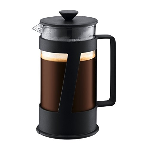Bodum CREMA Kaffeebereiter (French Press System, Permanent Edelstahl-Filter, Sicherheits-Deckel, 0,35 liters) schwarz