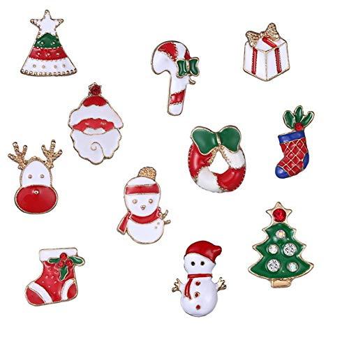 kung 11 Stücke Verschiedene Weihnachten Brosche Pins Revers Pin Set Für Kleidung Taschen Rucksack Jacken Abzeichen Pins Für Erwachsene Jungen Mädchen Geschenke kostüm - Accessoire ()
