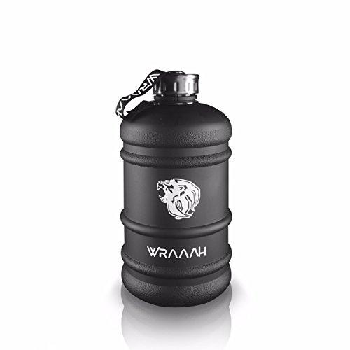 WRAAAH Fitness Trinkflasche Groß - 2.2 Liter/Sportflasche/Ideale XXL Sport Wasserflasche für Fitness & Bodybuilding/Auslaufsicher und Frei von BPA/Hochwertig und Stylisch - Große Sport Jug