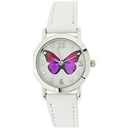 Jo For Girls Analogue Butterfly Dial White Leather Strap Fashion Watch JW021