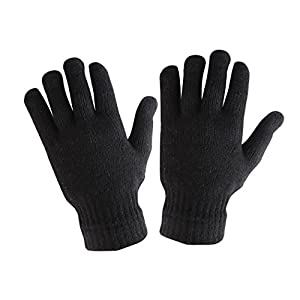 Krystle Men's Woollen Gloves (Black, Free size)