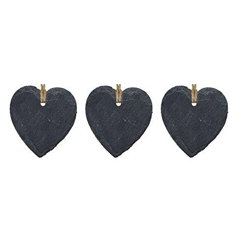Étiquette en ardoise - en forme de cœur - décoration à accrocher - petite taille - lot de 3