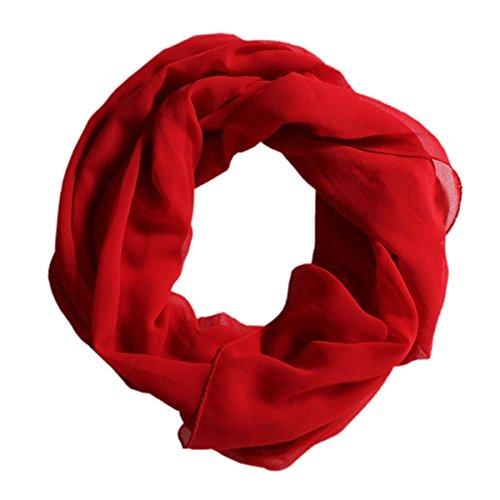 DOLCE ABBRACCIO Damen Schal Stola Halstuch Tuch aus Chiffon für Frühling Sommer Ganzjährig Rot (Schals Für Frauen)