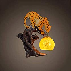 HhGold Lámpara de Pared de Leopardo, Resina de Cristal, Cabeza Simple, lámpara de Pared E27 (Color : -, tamaño : -)