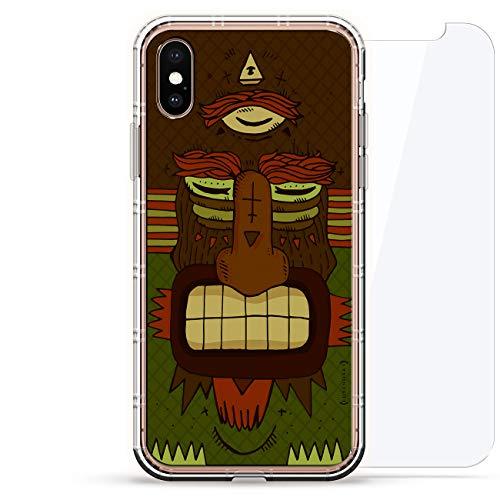 Luxendary Designer, 3D-Druck, Mode, Luftpolster-Kissen, 360 Glas-Schutz-Set für iPhone, Gruseliges Tribal-Monster mit DREI Augen, ()