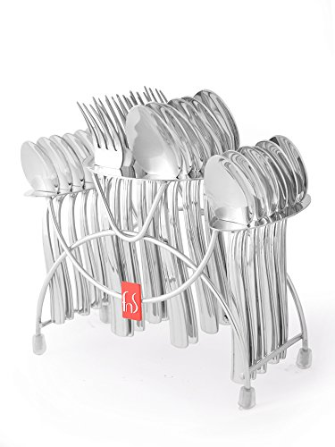 FnS Venice 24 Pcs Cutlery Set With Stainles Steel Stand Stand 6 Pc Dinner Spoons