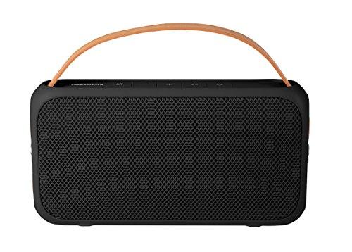 MEDION E65555 Bluetooth Lautsprecher, Spritzwassergeschützt, 2 x 10 Watt, 10 m Reichweite, bis 6 STD. Akkulaufzeit, USB Anschluss, schwarz