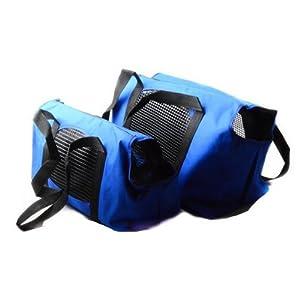 Sac de Transport Pliable pour Chien Chat - BADALINK Sac Portable Filets d'aération sur Les Parois Couchette Douce Taille L 35x18x25cm Bleu
