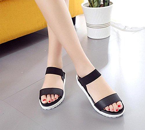 Frau Xia Jiping mit flachen Sandalen offener Schuhe Studenten einfache Gummiband Sandalen Black