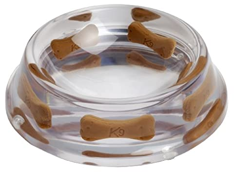 K9 Designer Dog Bowl, Clear with Faux Bone Inserts, Small