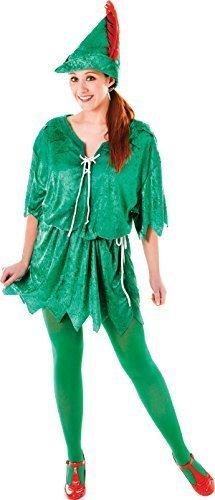 Grün Elfen Robin Hood Erwachsene Ausgefallen Party Kostüm Peter Pan Weiblich Uk Größe 10-14 (Weibliche Peter Pan Kostüm)