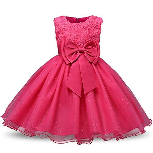 KOKOUK Kids Girls Xmas Party Dress Flower Formal Wedding Bridesmaid Princess Dresses (Rose)