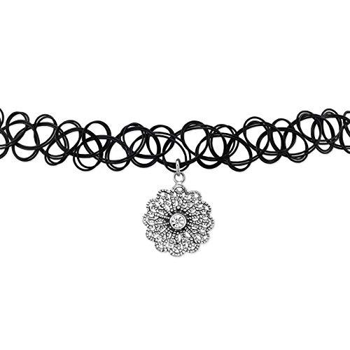 Laimons Damen Choker-Halskette Mandala-Scheibe Platte oxidiert Glitzer Sterling Silber 925