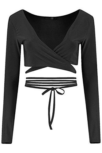 Noir Femmes orla brassière longue/courte cache-cœur à bretelles Noir