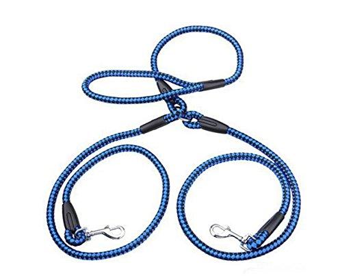 Für 2 Hunde Premium Qualität Komfort Nylon Material Handgriffen Doppelleine Hundeleine Ausbildung Leinen In 4 Farben 2 Größe (L, Blau)