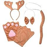 dressforfun 302039 - Kostüm Set Elch für Kinder, Haarreif mit Geweih, Handschuhe, Fliege und Schwanz