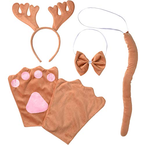 Rentier Das Sven Kostüm - dressforfun 302051 - Kostüm Set Elch für Erwachsene, Haarreif mit Geweih, Handschuhe, Fliege und Schwanz