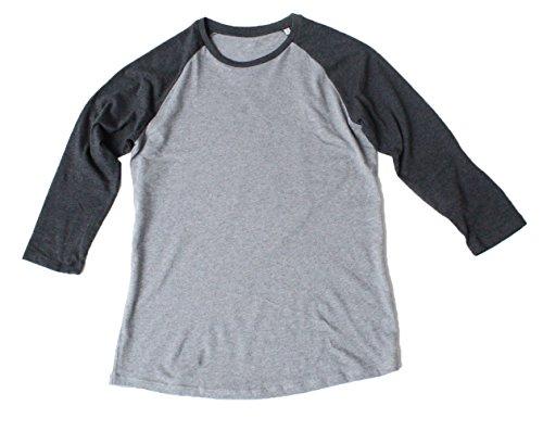 Baseball Unisex T-Shirt 3/4 Arm Aus 100% Bio-Baumwolle, Nackenband und Ärmel in Kontrastfarbe, Bio Kurzarmshirt T-Shirt, Baseball Bio Shirt Mid Heather Grey/ Dark heather Grey