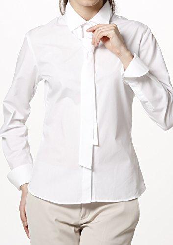 Popeline Uniform (LEONIS Pflegeleichte weiß Damen Langarm-Popeline-Bluse mit Schluppe (Größe 36) [ 40084 ])