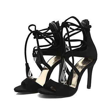 LvYuan Sandalen-Büro Kleid Lässig-Samt-Stöckelabsatz-Club-Schuhe Neuheit-Schwarz Rot Mandelfarben Black