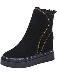 OSYARD Bottes en Daim Femme Hiver Bottes Bottines Plates Epais Chaussures  Fermeture Eclair Classiques Chaudes Impermeables b44e4a352fb7