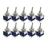 Hemore 10PCS interruttori a levetta 6-pin Dpdt on-on interruttori a levetta mini mts-2026A125VAC miniature