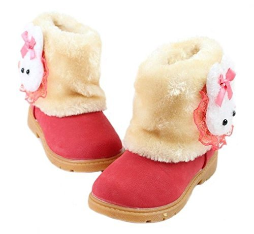 Arrowhunt Baby Girls Winter Fur Shoes Kids Rabbit Warm Snow Boots Red by Arrowhunt