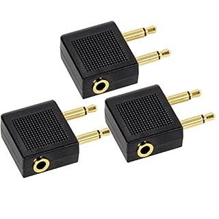 Flugzeug Adapter 3 Stück,Airline Adapter Goldüberzogen,Airline Airplane Flight Adapter für Kopfhörer 2*3.5mm mono Klinke,Stecker auf 3.5mm Dual Channel Stereo Buchse(schwarz)