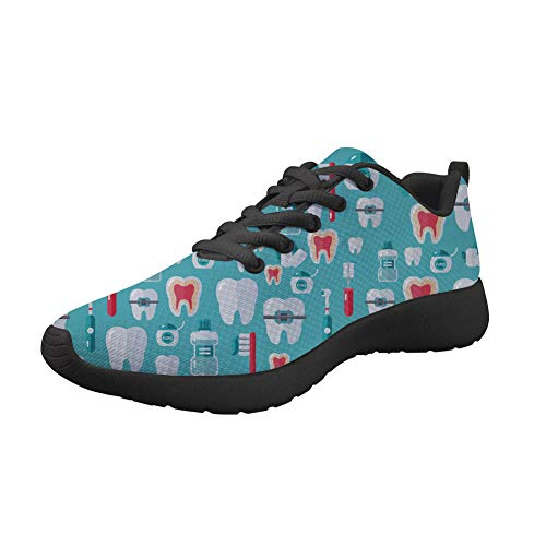 Nopersonality Womens Road Running Sneakers Funny Dental Designer Classic DailyShoes Go Easy Walking Lace-up Flats Gym Sports Athletic Lightweight Trainers Blau 39EU
