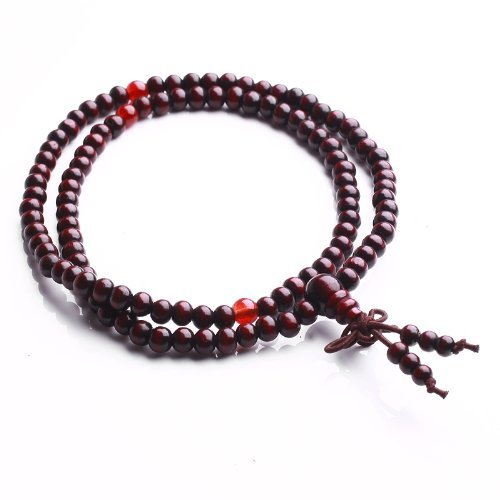 Qiyun meditation bouddhiste Santal priere Mala Rosary Necklace Bracelet Rouge 6mm