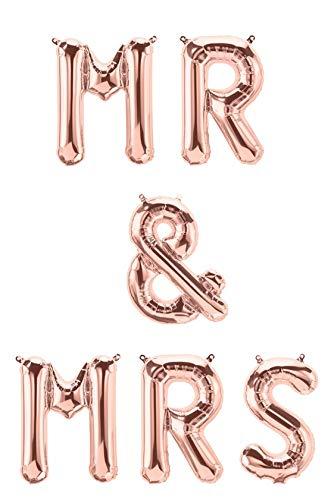 XXL Folien-Ballons MR & MRS rosé-Gold Buchstaben-Girlande Luft-Ballons Schriftzug Höhe 35cm Hochzeits-Deko-Ration Zubehör Accessoires Hochzeit Feier Raum-Deko Banner Location