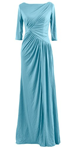 MACloth Women Half Sleeve Boat Neck Jersey Long Evening Gown Celebrity Dress Turquoise