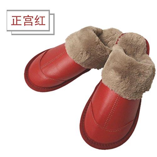 LaxBa Femmes Hommes Chaussures Slipper antiglisse intérieur Red