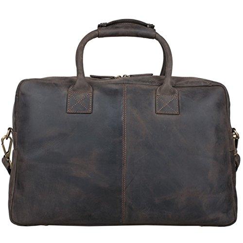 STILORD 'Ben' Vintage Borsa Uomo Grande XL / Borsa a Tracolla / da Ufficio / Portadocumenti Piccola borsa da viaggio Valigetta 24 ore Cuoio, Colore:marrone scuro marrone scuro