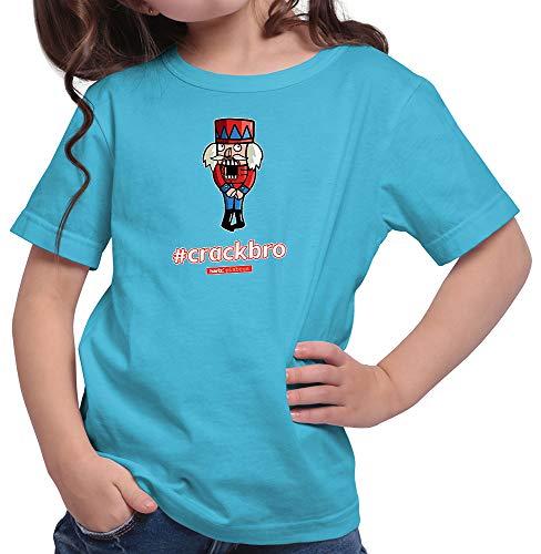 HARIZ  Mädchen T-Shirt Pixbros Crackbro Xmas Weihnachten Witzig Familie Tannenbaum Inkl. Geschenk Karte Azur Blau 164/14-15 Jahre