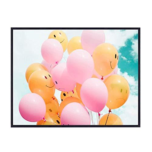 BHUA Meter Box Dekorative Malerei Up Flip Typ Für Restaurant Kinderzimmer Kindergarten, Kreative Farbe Ballon Muster Schwarz PS Rahmen Kristall Oberfläche Wandbild ( Size : (50*35cm 34*25cm) )