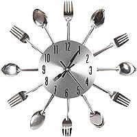 ANKKO Orologio da parete posate creativo moderno, Orologio cucchiaio forchetta decorativo, Argento