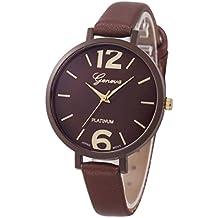 Relojes Pulsera Mujer,Xinan Ginebra Imitación Cuero de Cuarzo Analógico Relojes (Marrón)