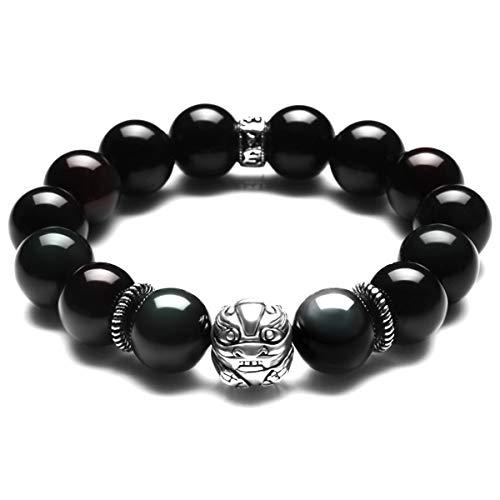 mecool Black Ice Obsidian Stein Stretch-Armband mit S925Thai Silber Bixie für Herren