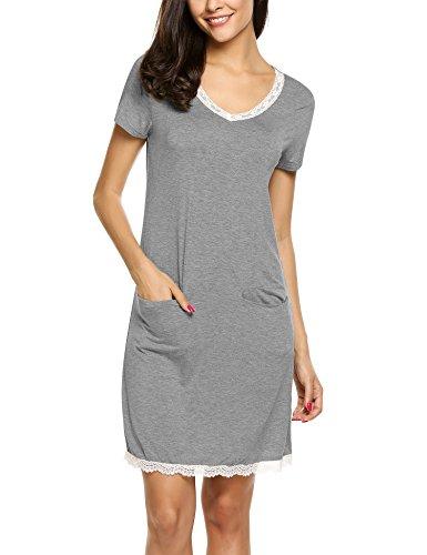 HOTOUCH Nachthemd Schlafhemd Kurzarm Damen Pyjama Sleepshirt Schlafshirt Baumwolle Grau XL (Damen-sleepshirts Baumwolle Aus)