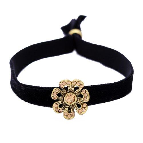 Morella Damen Trachtenarmband Samt schwarz Motiv Blume mit Zirkoniasteinen (Schwarz Schmuck Und Gold Trachten)