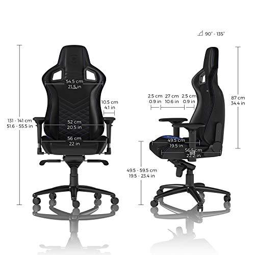 noblechairs EPIC Gamingstuhl - Bürostuhl - Schreibtischstuhl - PU-Kunstleder - Schwarz/Blau (Stoff Schraube Polster Durch Die)