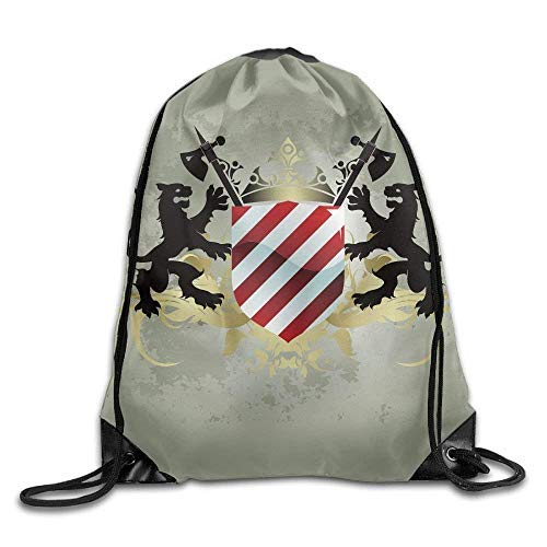 Etryrt Prämie Turnbeutel/Sportbeutel, Heraldry Ornamental Medieval Empire Shield Icon with Lions and Axes Display Sage Green Red Running Backpack - 2 Empire-sammlung